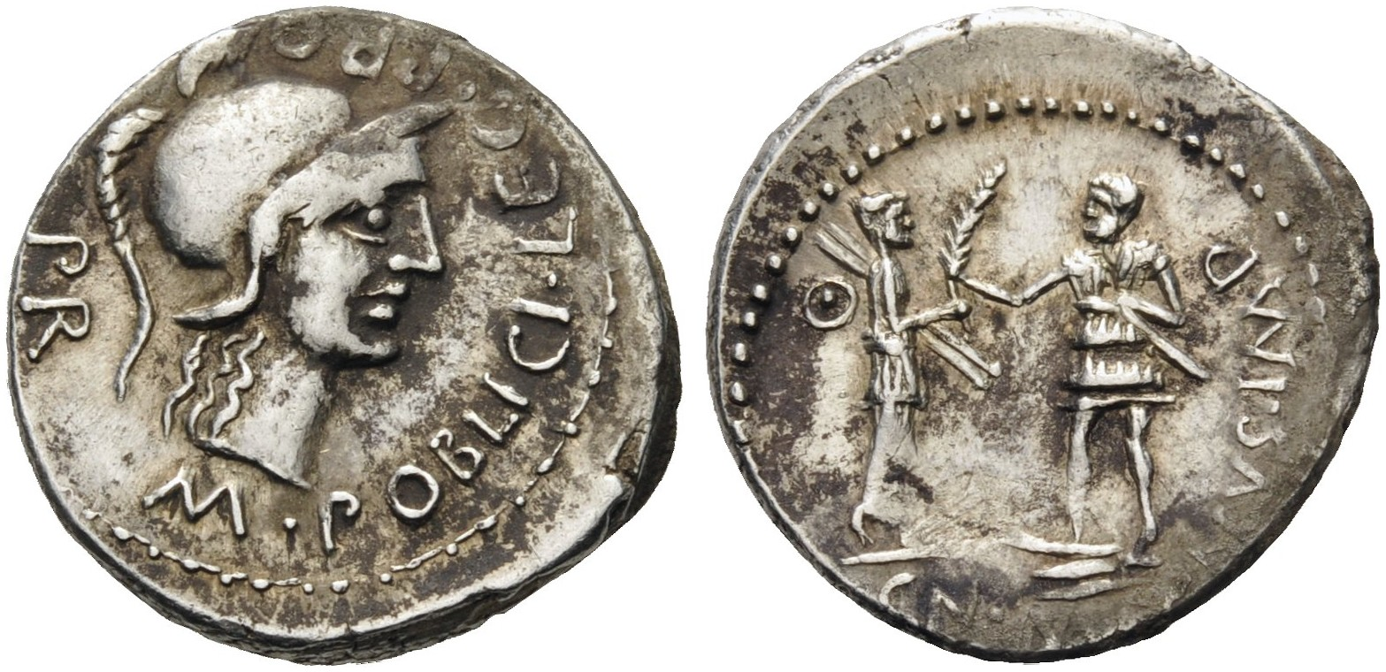 Roman Republic, Cn. Pompeius Magnus, summer 46 - spring 45 BC. Silver Denarius, M. Poblicius, legatus pro praetore, Corduba. M POBLICI LEG PRO PR Helmeted head of Roma to right. Rev. CN MAG NVS IMP Hispania standing right, with shield on her back, holding two spears in her left hand and presenting large palm frond to Pompeian soldier standing left on prow, armed with sword. Crawford 469/1a, Sear Imperators 48, Sydenham 1035.