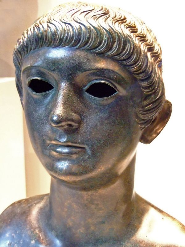 Bronze Bust of a Gallo-Roman Youth with a Neronian Hairstyle, Displayed on October 8, 2006 at Getty Villa in Malibu, California. Photo: Mary Harrsch.