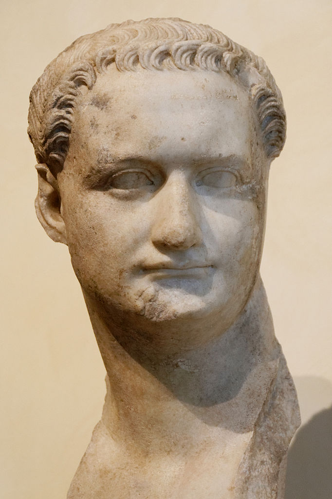 Bust of Domitian in the Capitoline Museum, in Rome. Domitian in later years as Emperor, and has the same simple short haircut as his father, Vespasian, used to have.